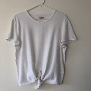 Madewell White top with knot at the front, size XL